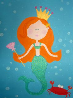 "Mermaid Painting, 24"" x 36"" Canvas Wrap... perfect for a little girl's room!"