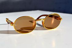 a54db7040f90 Vintage Authentic Cartier gold   Rosewood sunglasses with original glass  lenses like new