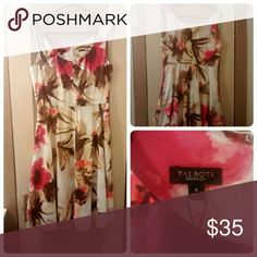 Talbots tropical floral dress size 8 Gorgeous Talbots dress in pink, brown, and cream. Size 8. Has several tiny pinholes along the side. Talbots Dresses