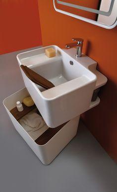 Bathroom Basin, Washroom, Cuba, Hidden Shelf, Mobile Living, Toilet Design, Bathroom Inspiration, Modern Bathroom, Space Saving