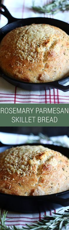 ***No Knead Rosemary Parmesan Skillet Bread ~ love that this is NO KNEAD! Comes… ***No Knead Rosemary Parmesan Skillet Bread ~ love that this is NO KNEAD! Comes together in minutes and tastes SOOO good. Crispy crust too. Iron Skillet Recipes, Cast Iron Recipes, Cast Iron Skillet, Skillet Bread, Skillet Cooking, Easy Cooking, Skillet Chicken, Skillet Meals, Bread And Pastries