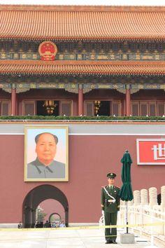 Tienanmen Square and Mao.