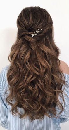 43 Gorgeous Half Up Half Down Hairstyles , partial updo hairstyle , braid half up half down hairstyles , bridal hair ,boho hairstyle frisuren haare hair hair long hair short Wedding Hairstyles For Long Hair, Wedding Hair And Makeup, Gorgeous Hairstyles, Wedding Updo, Bridesmaid Hairstyles Half Up Half Down, Long Hair Wedding Styles, Simple Hairstyles, Bridesmaid Hair Half Up Long, Homecoming Hairstyles