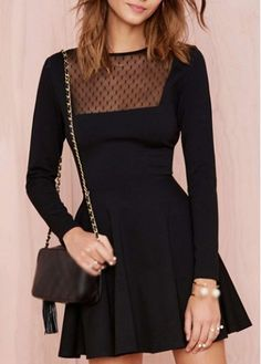 Elegant Solid Black Round Neck Long Sleeve Dress on sale only US$21.42 now, buy cheap Elegant Solid Black Round Neck Long Sleeve Dress at martofchina.com