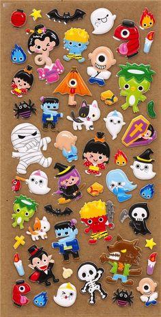 cute Halloween monsters mummies sponge stickers from Japan