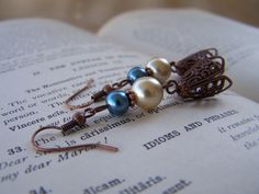 VintageInspired Cream and Turquoise Blue Pearl by belleonabudget, $7.50