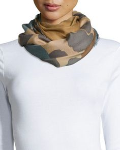 Floral/Animal-Print+Cashmere+Scarf,+Camel+by+Burberry+Prorsum+at+Bergdorf+Goodman.
