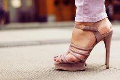 #champagne #heels #straps