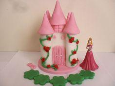 Handmade edible cake topper+Disney Princess Aurora Sleeping Beauty figure.