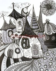 Black Grey White ORIGINAL ABSTRACT Fantasy Fairy Tale Town Mixed Media Ink