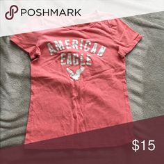 AEO t shirt This is a coral colored shirt from AEO, still in wonderful condition! It is extremely comfortable and soft. American Eagle Outfitters Tops Tees - Short Sleeve