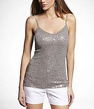 EXPRESS SEQUIN V-NECK CAMI