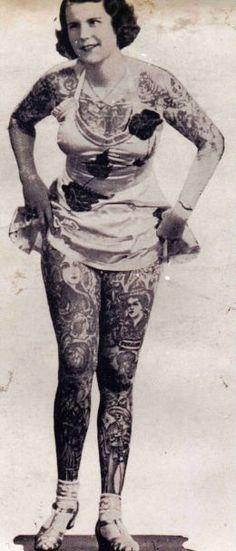 Old time tattooed circus woman