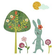 konijntjes, boom en bloemen