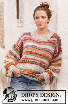 Moroccan Market Muse / DROPS 212-20 - Kostenlose Strickanleitungen von DROPS Design Free Knitting Patterns For Women, Chunky Knitting Patterns, Knit Patterns, Drops Design, Muse, Tricot Simple, Cardigan Au Crochet, Crochet Diagram, Work Tops