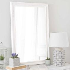 Miroir en bois de paulownia blanc H 90 cm EMELINE
