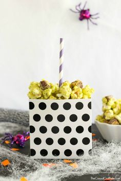 Treat your ghouls and ghosts this Halloween with this easy to make Snickers Caramel Apple Popcorn. It's the perfect combination of salty, sweet, and chocolaty.