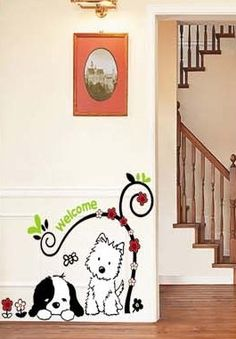 Amazon.com: X Large Two Dogs Puppies Under a Tree Wall Sticker Decal for Baby Nursery Kids Room Sticker 14X28: Baby