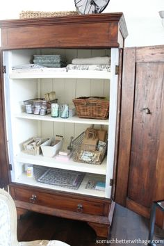 I love this idea... Turn a cabinet into a craft space. somuchbetterwithage.com