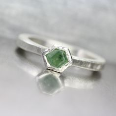 Rough Green Demantoid Garnet Crystal Ring Geometric Minimalistic Silver Setting Natural Raw Gemstone January Birthstone Gift Idea - Geo Grün by NangijalaJewelry on Etsy