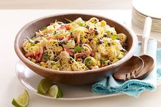 Who needs a mariachi band? Fresh cilantro and lime juice make this smart taco-inspired pasta salad sing out loud with tangy flavor.
