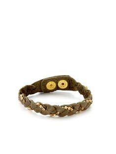 Olive Green Leather & Stone Braided Bracelet by Presh on Gilt.com