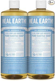 Amazon.com: Dr. Bronner's - Pure-Castile Liquid Soap (Baby Unscented, 32 Fl Oz (Pack of 2): Health & Personal Care Castile Soap Uses, Bath Melts, Baby Skin Care, Homemade Soap Recipes, Lavender Soap, Glycerin Soap, Lotion Bars, Goat Milk Soap, Liquid Soap