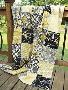 yellow, black and greys modern quilt