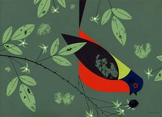 """Painted Bunting - from Ford Times, November 1958. The Painted Bunting is in advertising – direct male advertising, that is. While his conservative wife remains in the background, he is busy in garden and thicket, proclaiming himself in glorious Technicolor and singing commercial, pew-eta, pew-eta. Quick to anger and mighty in combat, he will fight for home, mate and the joy of conquest. Once a victim of cage-bird dealers, he was known in the marketplace as """"Nonpareil"""" – without an equal."""