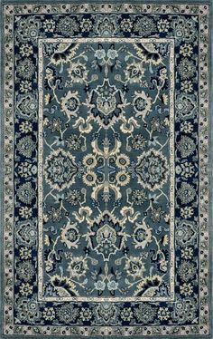 RugStudio presents Trans-Ocean Petra Agra Indigo Hand-Tufted, Best Quality Area Rug Teal Carpet, Patterned Carpet, Rugs On Carpet, Agra, Traditional Rugs, Traditional Design, Rugs Usa, Hand Tufted Rugs, Indoor Rugs