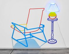 'chair with neon lamp' in 15 color series by joanna lamb