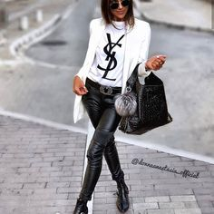 Aquela T-shirt super estilosa YSL inspired P M G Fashion Mode, Look Fashion, Street Fashion, Winter Fashion, Womens Fashion, Fashion Trends, Classy Edgy Fashion, Fashion Styles, Best Casual Outfits