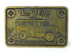 Vintage Brass Tone Belt Buckle Loomis Fargo Armored Car Truck LF&Co #Novelty