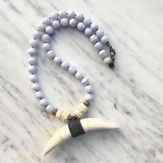 Charles Necklace | Blue Lace Agate + Pyrite
