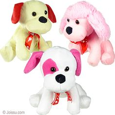 PLUSH DOGS W/HEART BOW TIES. With button eyes, soft flannel bodies and bow ties imprinted with hearts, these adorable stuffed dogs will delight any sweetheart. Assorted colors. Perfect for Mother's Day and Valentine's Day gifts. Size 7 Inches