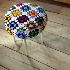 Crochet Stool 60's Footstool covered in a granny squares/afgan/crochet/knitted blanket www.somethingfine.co.uk