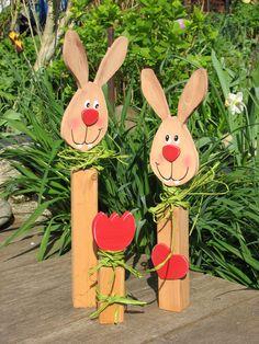 Osterdeko - Bastelset aus Holz, Hase Blume Herz, Ostern, - ein Designerstück von osa007 bei DaWanda