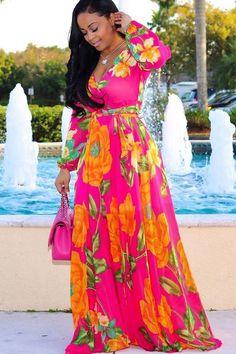 Red Flowers Draped V-neck Bohemian Beach Chiffon Maxi Dress Red Chiffon, Chiffon Maxi Dress, Print Chiffon, Maxi Dress With Sleeves, Maxi Dresses, Sleeve Dresses, Floral Dresses, Dress Outfits, Dresses Short