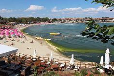 Public beach in Sozopol, Bulgaria, a traditional fishing village on the shores of the Black Sea
