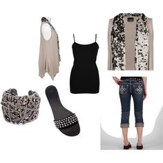 Fly away vest with Black/Beige sequin...cute ensemble!