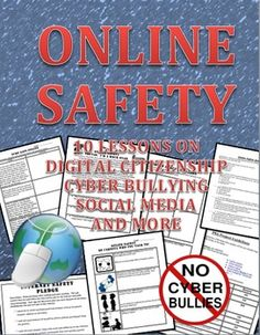 This is a 10 lesson workbook that discusses how to be safe online, digital citizenship, cyber bullying and surfing safe to include social media. Here is what is in the packet: Online safety scenario worksheet Digital Life: Playing it safe online. Safety Cartoon, Digital Citizenship Lessons, Cyber Bullying, Cyber Safety, Safety Posters, Page Online, Public Service Announcement, Internet Safety, Health And Wellbeing