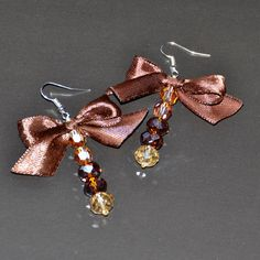 Golden Forest Collection, Brown Bow Drop Earrings, Statement Earrings, One of a Kind