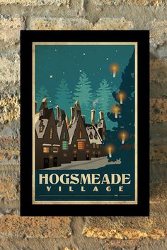 Spend your weekends at Hogsmeade! HOGSMEADE Harry Potter Travel Poster Vintage Print Wall Art House Warming New Apartment