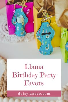 Cute llama keychains are the perfect final fiesta party favor. Hang them on the outside of goodie bags for a unique bachelorette party idea. Display on a table to add to your llama party decorations for your guests to grab. Each llama party favor holds a standard tube of lip balm. Llama design fits with a llama birthday party, fiesta theme party & cactus party. From a llama birthday party to fiesta bachelorette party, these party favors compliment any party. Visit daisylaneco.com to purchase. Fiesta Party Favors, Unique Party Favors, Birthday Party Favors, Llama Birthday, Girl Birthday, Party Themes, Party Ideas, Bachelorette Party Planning, Goodie Bags