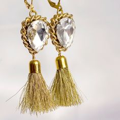 Statement Crystal Clear Earrings - Tassel Gold Dandling Earrings, Art Deco Jewelry.