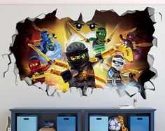 Lego Ninjago Smashed 3D Wall Decal Sticker Vinyl Decor Door Window Poster Mural Movie Sets Games - Broken Wall  - 3D Designs