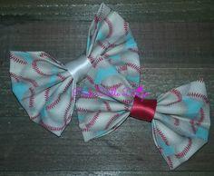 Baseball Bow Tie,Baseball Bowtie,Aqua Bow Tie,Newborn Baby Boy,Girl Hair Clip,Toddler Bow,Birthday Bowtie,Spring Bowtie,Ring Bearer,PCD0226