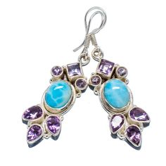 "Rare Larimar, Amethyst 925 Sterling Silver Earrings 2"" EARR304225"