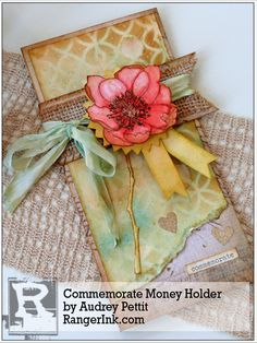 Commemorate Money Holder by Audrey Pettit Scrapbooking, Scrapbook Cards, Handmade Greetings, Handmade Cards, Money Holders, Card Holders, Gift Cards Money, Tim Holtz Distress Ink, Ranger Ink