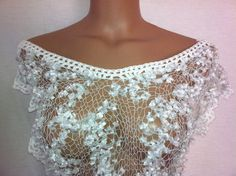 Hand knitted white transparent low back blouse for by Arzus, $34.50